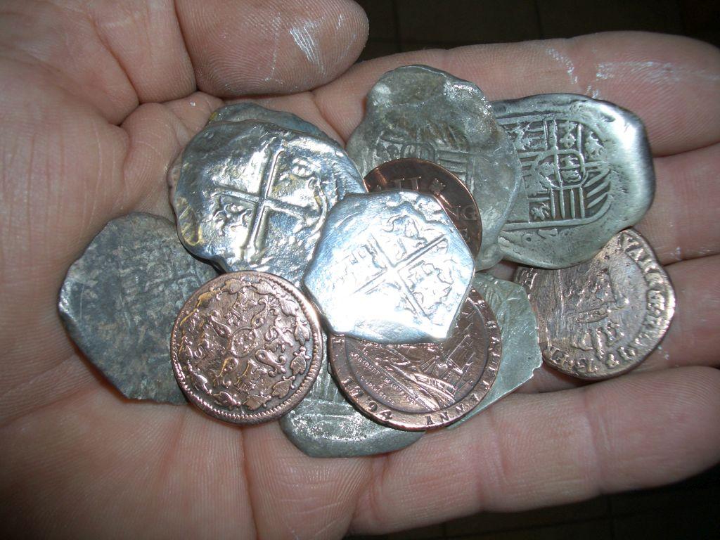Hand full coins